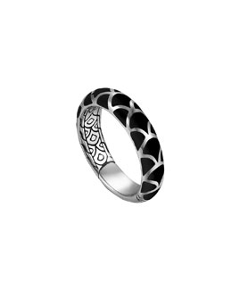 John Hardy Naga Silver Band Ring with Black Enamel, 5.3mm, Size 7