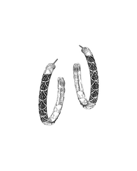 Naga Silver Lava Hoop Earrings with Black Sapphire