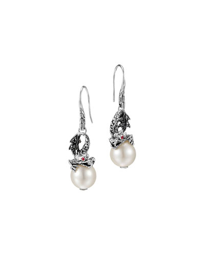 John Hardy Naga Silver Dragon Drop Earrings with Pearl & Black Sapphire
