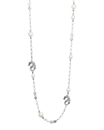 "John Hardy Batu Naga Silver Sautoir Necklace with Freshwater Pearls, 36""L"