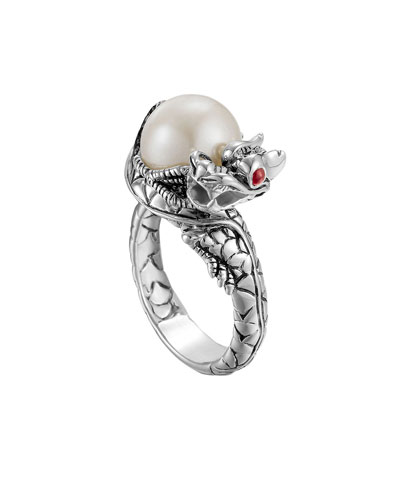 John Hardy Naga Silver Lava Small Dragon Ring with Freshwater Pearl