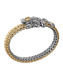 John Hardy Naga Gold & Silver Dragon Station Two Tone Bracelet, Medium 8mm, Size M