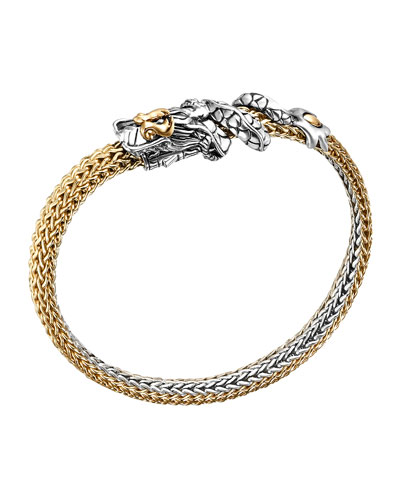 John Hardy Naga Gold & Silver Dragon Station Two Tone Bracelet, Extra-Small 5mm, Size M
