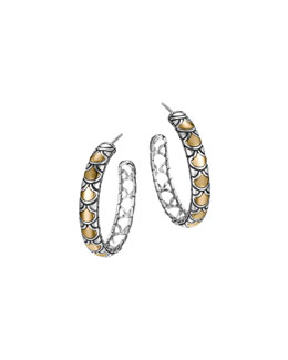 John Hardy Naga Gold & Silver Medium Hoop Earrings