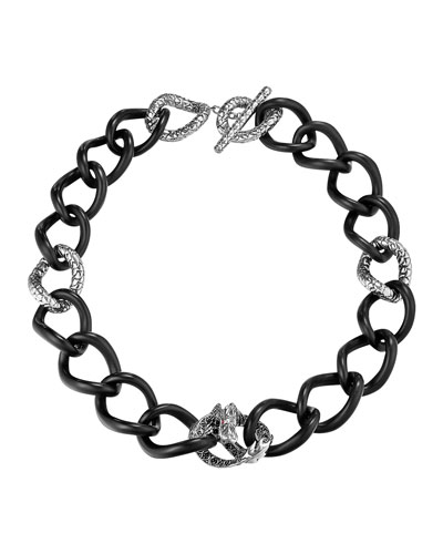 John Hardy Batu Naga Silver Chain Link Necklace with Black Sapphire