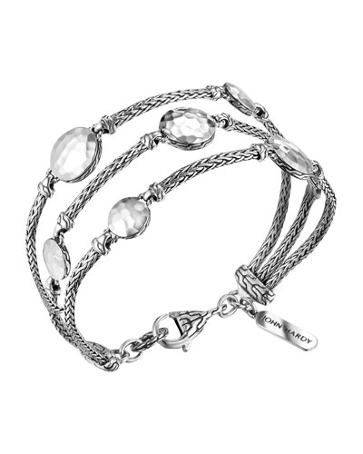 John Hardy Palu Silver Three-Row Multi Station Bracelet, Size M