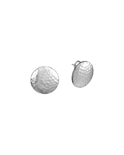 John Hardy Palu Silver Button Earrings