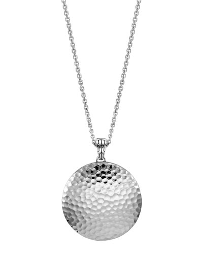 John Hardy Palu Silver Large Round Pendant Chain Necklace