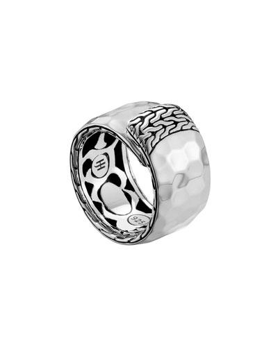 John Hardy Palu Silver Overlap Band Ring, Size 7