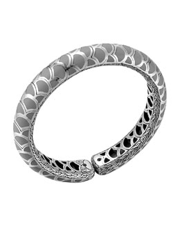 John Hardy Naga Silver Enamel Slim Flex Cuff with Gray Enamel, Size M
