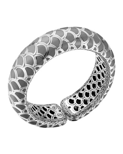 John Hardy Naga Silver Enamel Scale Cuff with Gray Enamel, Size M