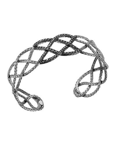 John Hardy Classic Chain Silver Lava Braided Cuff with Black Sapphire, Size M