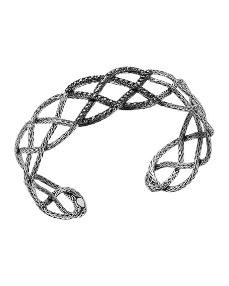 Classic Chain Silver Lava Braided Cuff with Black Sapphire, Size M