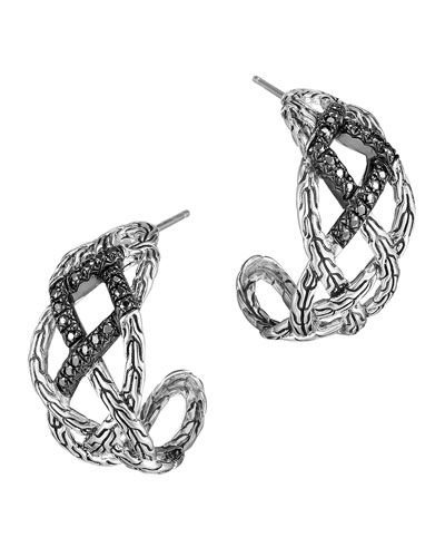 John Hardy Classic Chain Silver Lava Woven Braided Saddle Hoop Earrings with Black Sapphire