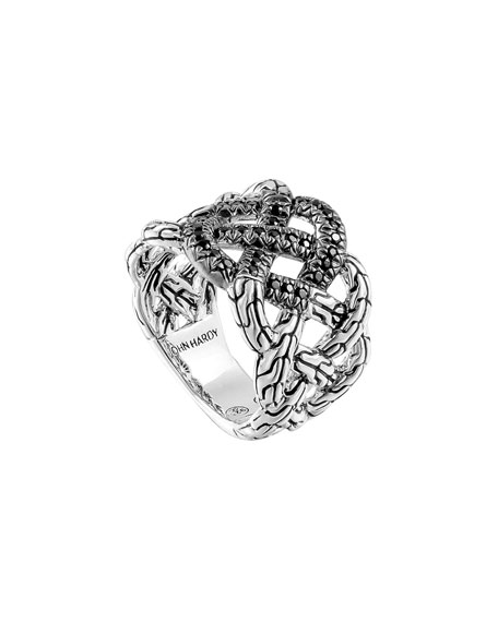 Classic Chain Silver Lava Band Woven Braided Ring with Black Sapphire, Size 7