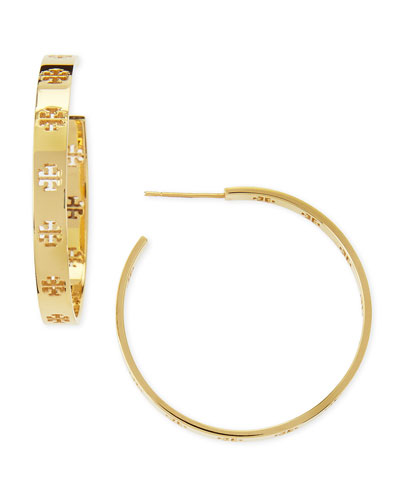 Tory Burch Golden T Logo Hoop Earrings