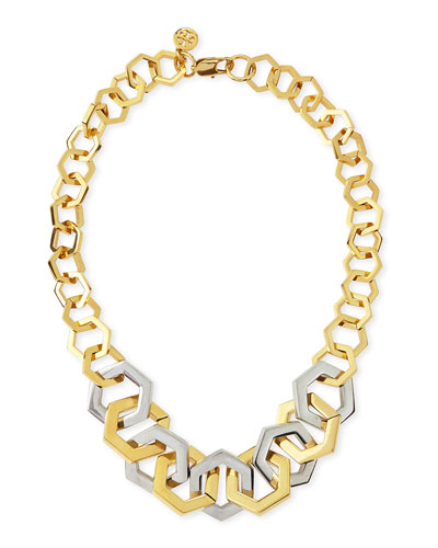 Tory Burch Two-Tone Metal Hexagon Necklace