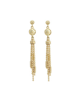 Lagos 18k Gold Caviar Chain Tassel Earrings