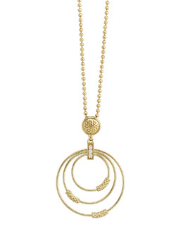 Lagos 18k Gold Caviar 3-Hoop Pendant Necklace with Diamonds