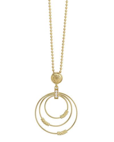 Lagos 18k Gold Caviar 3-Hoop Pendant Necklace with Diamonds