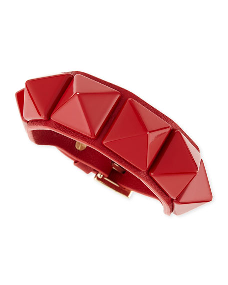 Medium Rockstud Leather Bracelet, Red