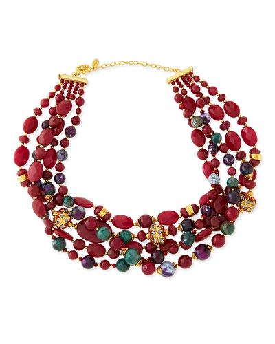 Jose & Maria Barrera Chunky Multi-Stone Necklace, Deep Red