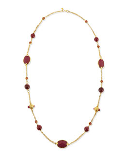Jose & Maria Barrera Deep Berry Station Necklace, 42""