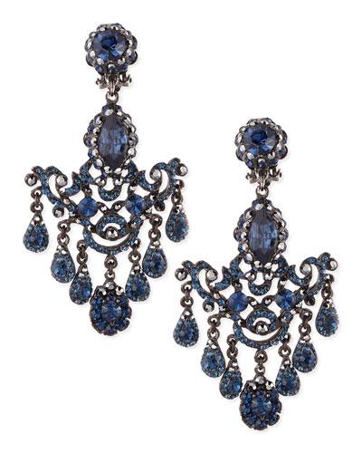 Jose & Maria Barrera Gunmetal & Blue Crystal Chandelier Clip-On Earrings
