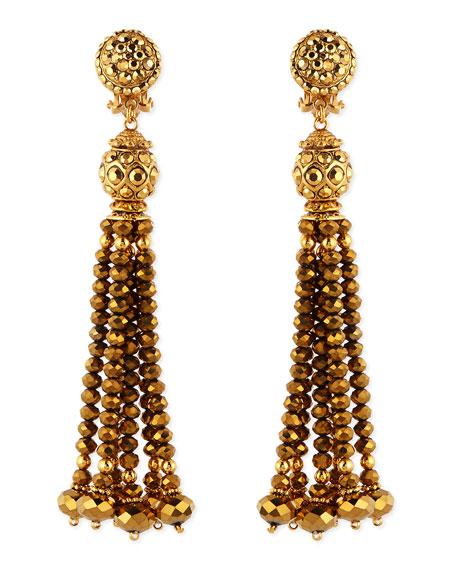 Jose & Maria BarreraGolden Crystal Tassel Clip-On Earrings