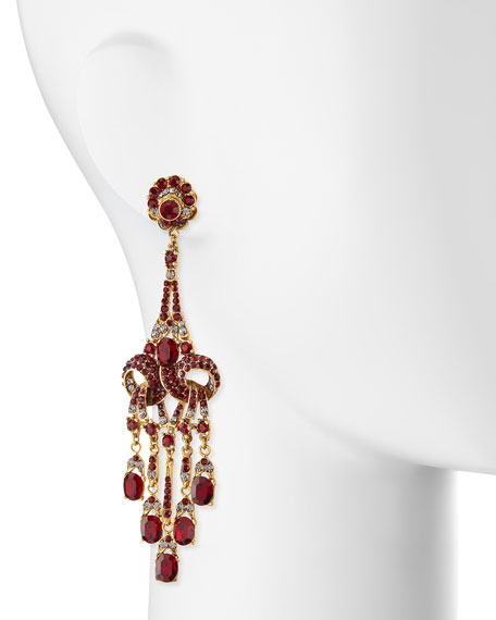 Gold-Plated Red Crystal Chandelier Clip-On Earrings