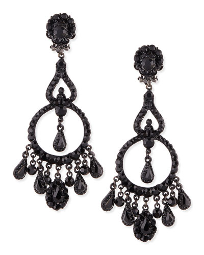 Gunmetal & Jet Black Chandelier Clip-On Earrings