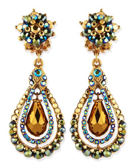 Jose & Maria Barrera Green Iridescent Crystal Clip-On ...