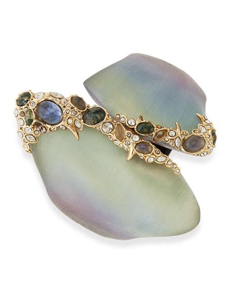 Crystal Lace Asymmetric Lucite Bracelet, Gray