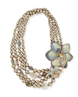 Alexis Bittar Crystal Lace Flower Necklace