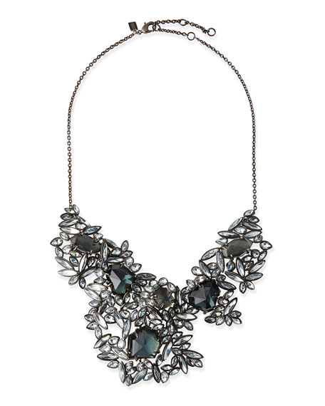 Marquise Cluster Bib Necklace with Fancy Blue Crystal & Pyrite Doublets