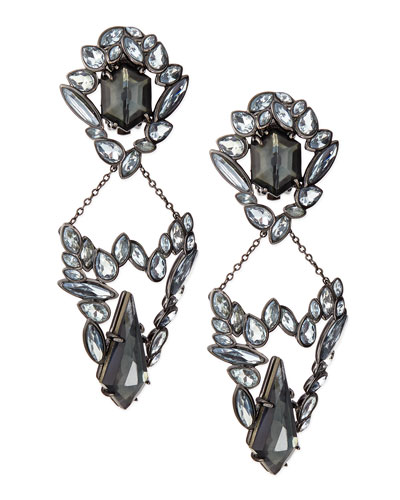 Marquise Cluster Clip-On Earrings, Blue Crystal