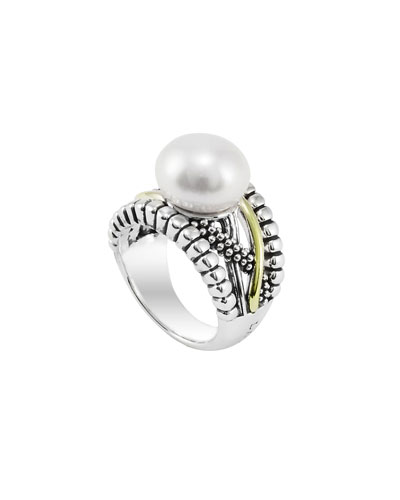 Lagos Silver & Gold Luna Pearl Ring, 12mm