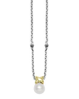 Lagos Luna Silver & Gold Pearl Pendant Necklace