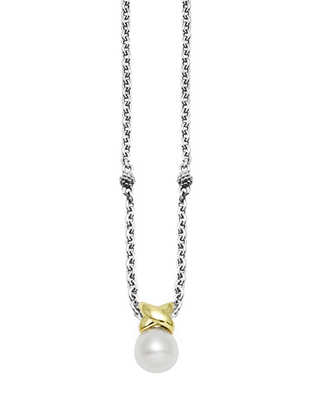 Luna Silver & Gold Pearl Pendant Necklace