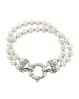 Lagos Luna Pearl Double-Strand Bracelet, 7mm