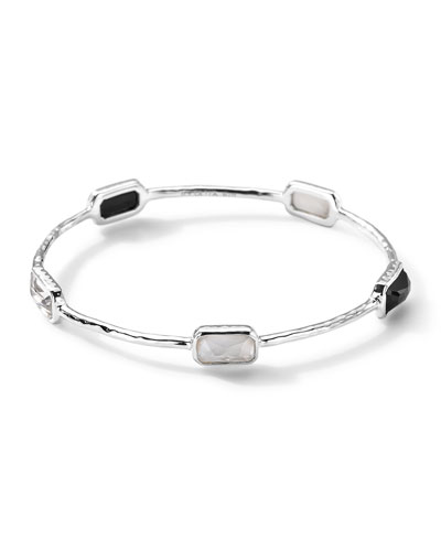 Ippolita Five-Stone Rectangular Bangle of Black Onyx, Quartz, and Quartz/Mother-Of-Pearl Doublet, Size 2