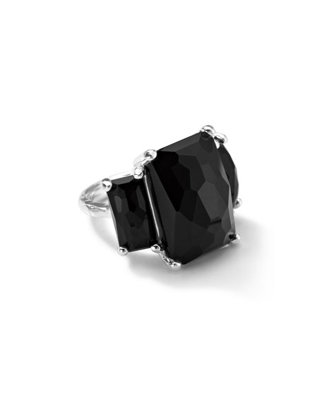 3-Stone Prong-Set Ring in Black Onyx