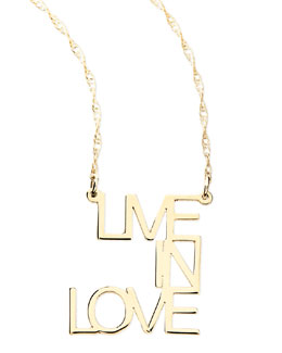 Jennifer Zeuner 18k White Gold Vermeil Live In Love Necklace