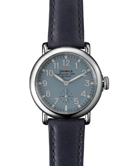 Shinola The Runwell Stainless Steel Slate Watch with Leather Strap, 36mm