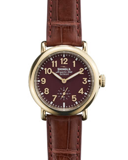 Shinola The Runwell Yellow Golden Burgundy Watch with Alligator Strap, 36mm