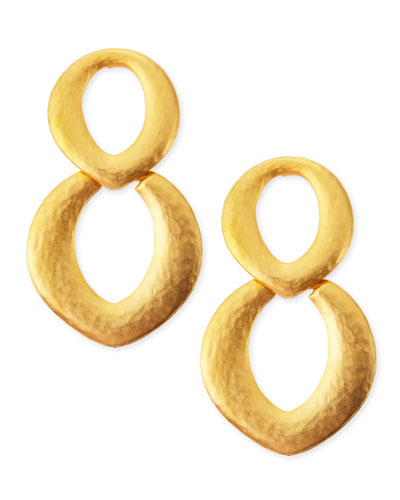Golden Satin Link Doorknocker Earrings