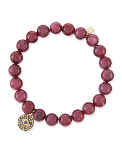 Sydney Evan 8mm Natural Ruby Beaded Bracelet with 14k Gold/Diamond Round Evil Eye Charm (Made to Order)