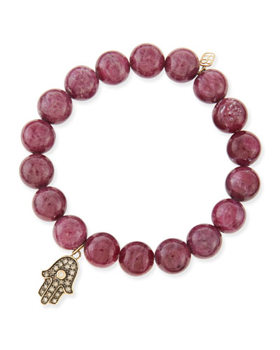Sydney Evan 10mm Ruby Beaded Bracelet with Diamond