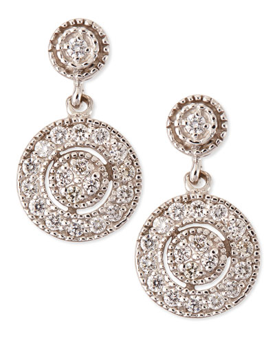 Antiqued Pave Diamond Round Earrings