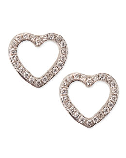 KC Designs White Gold Diamond Heart Stud Earrings